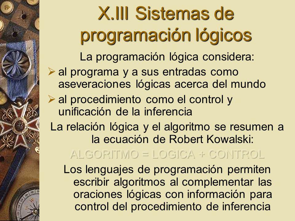 X.III Sistemas de programación lógicos