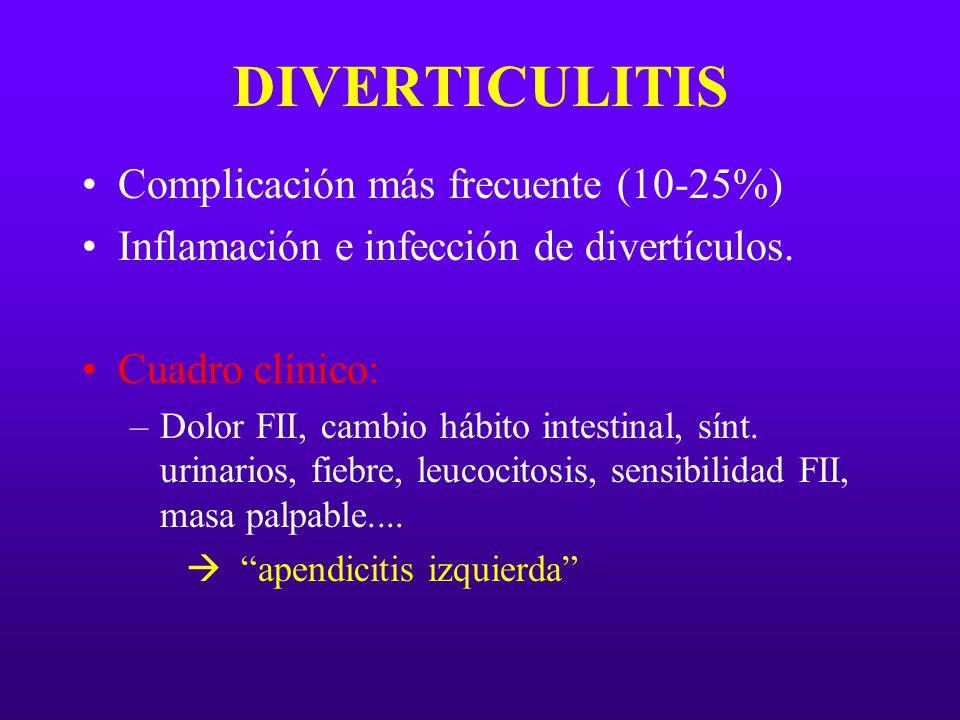 DIVERTICULITIS Complicación más frecuente (10-25%)