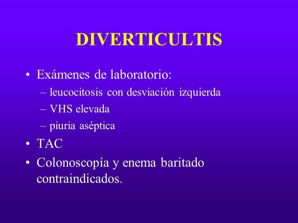 DIVERTICULTIS Exámenes de laboratorio: TAC