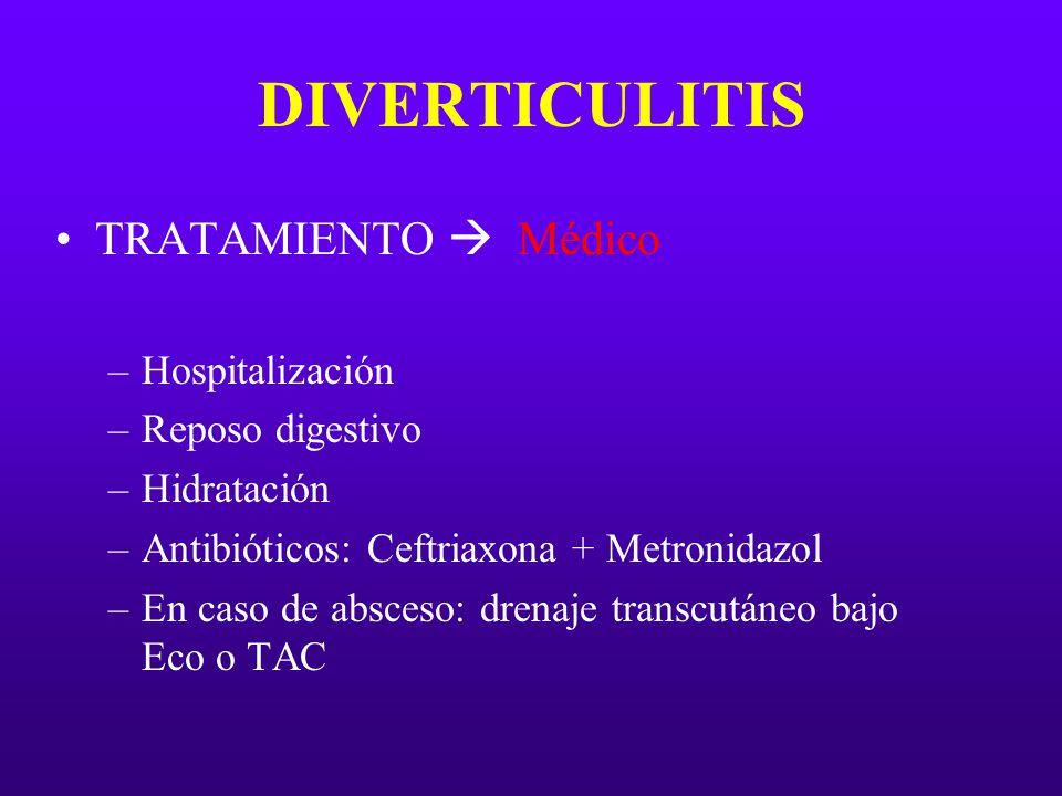 DIVERTICULITIS TRATAMIENTO  Médico Hospitalización Reposo digestivo