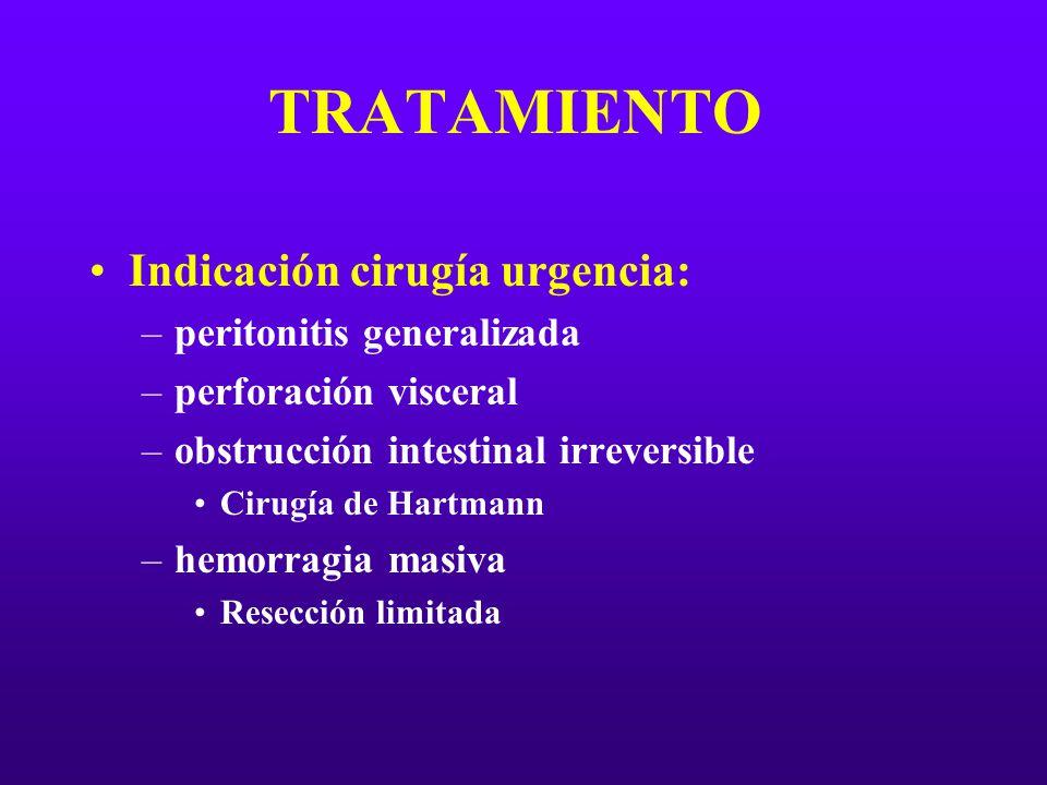 TRATAMIENTO Indicación cirugía urgencia: peritonitis generalizada