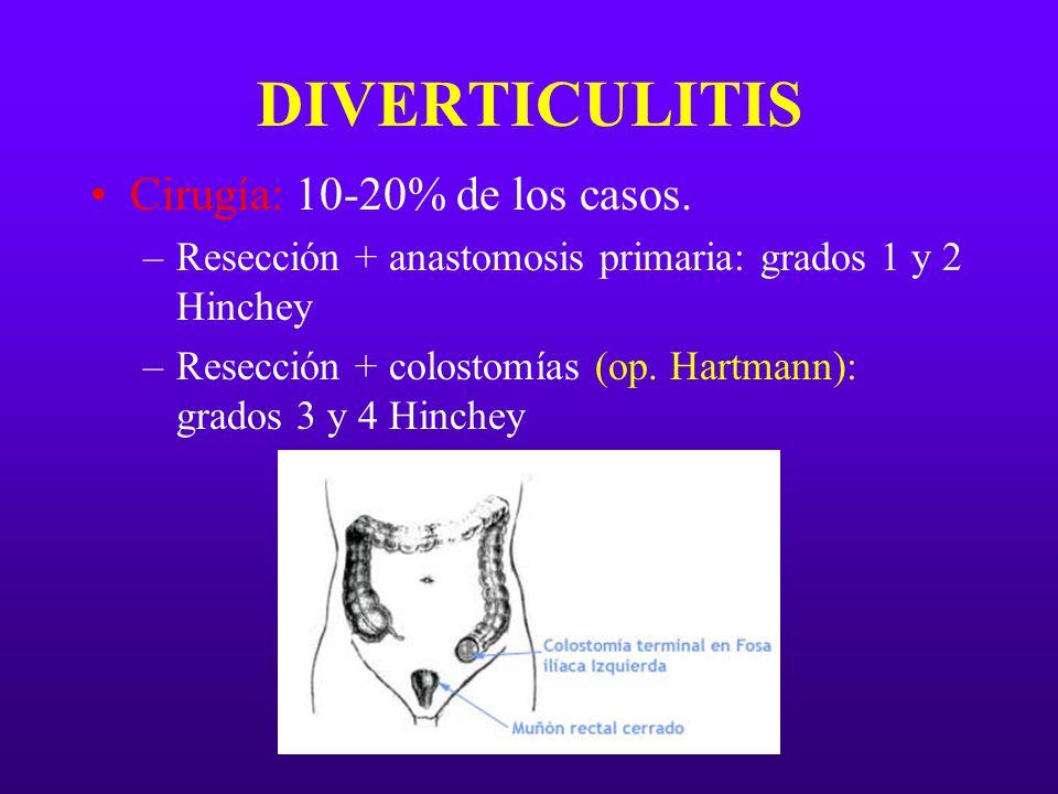 DIVERTICULITIS Cirugía: 10-20% de los casos.