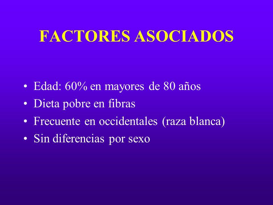 FACTORES ASOCIADOS Edad: 60% en mayores de 80 años