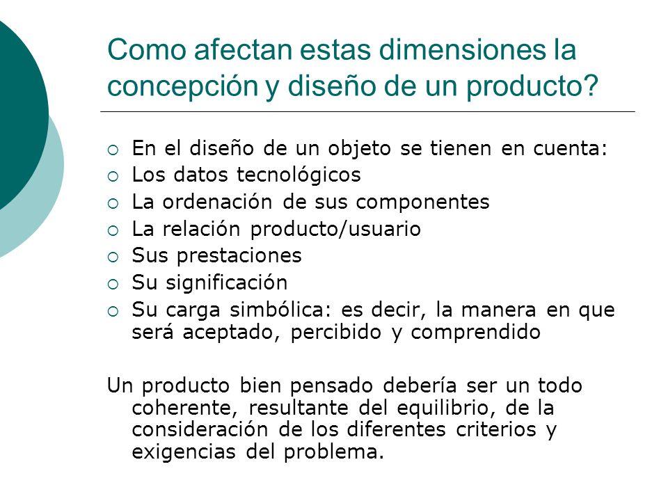 Como afectan estas dimensiones la concepción y diseño de un producto