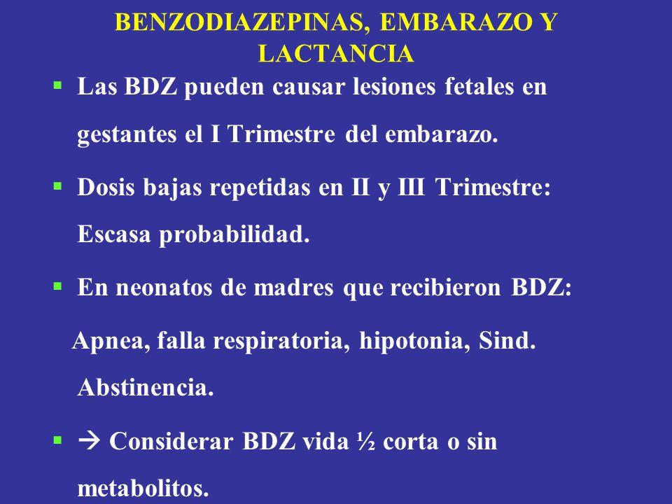 BENZODIAZEPINAS, EMBARAZO Y LACTANCIA