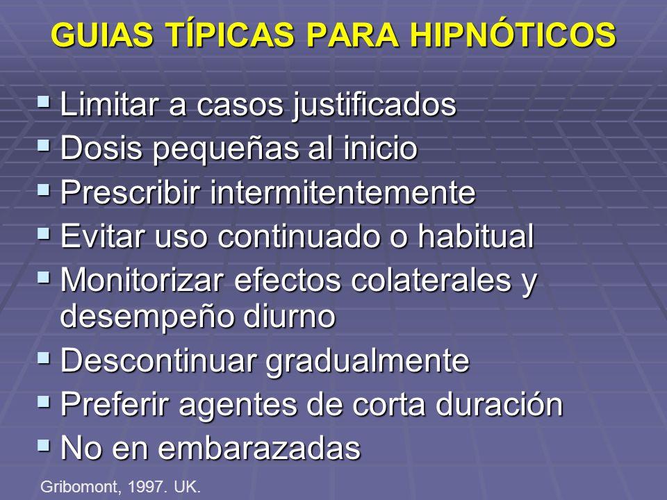GUIAS TÍPICAS PARA HIPNÓTICOS