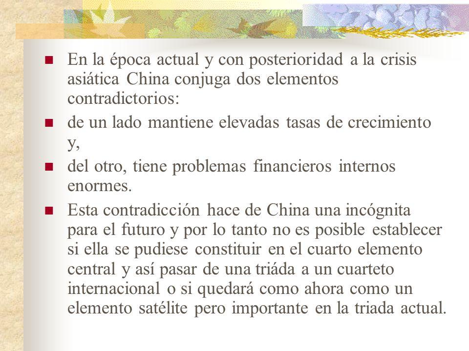 En la época actual y con posterioridad a la crisis asiática China conjuga dos elementos contradictorios: