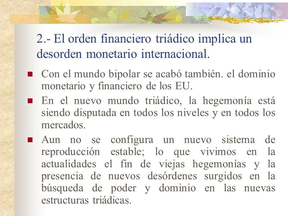 2.- El orden financiero triádico implica un desorden monetario internacional.