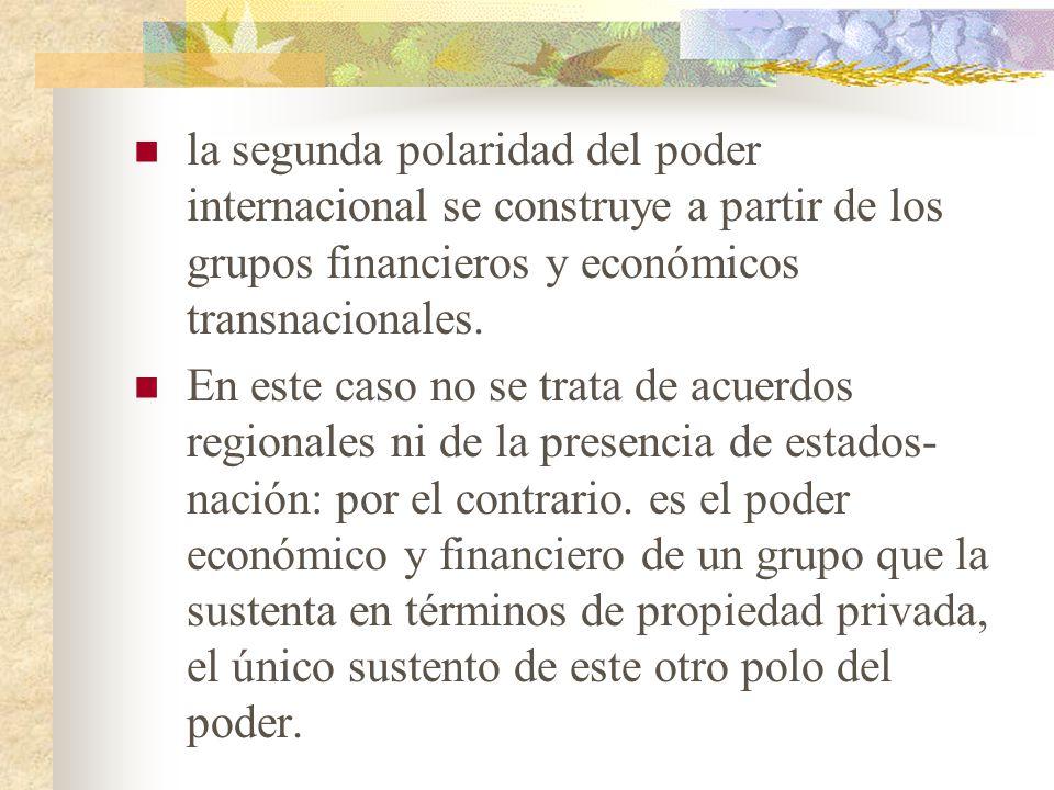 la segunda polaridad del poder internacional se construye a partir de los grupos financieros y económicos transnacionales.