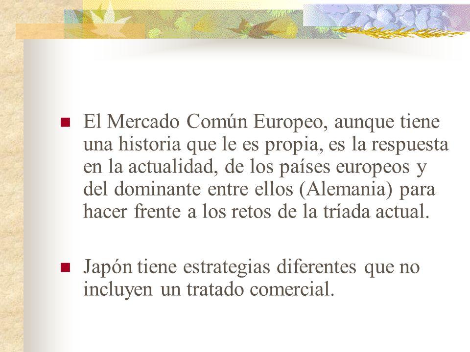 El Mercado Común Europeo, aunque tiene una historia que le es propia, es la respuesta en la actualidad, de los países europeos y del dominante entre ellos (Alemania) para hacer frente a los retos de la tríada actual.