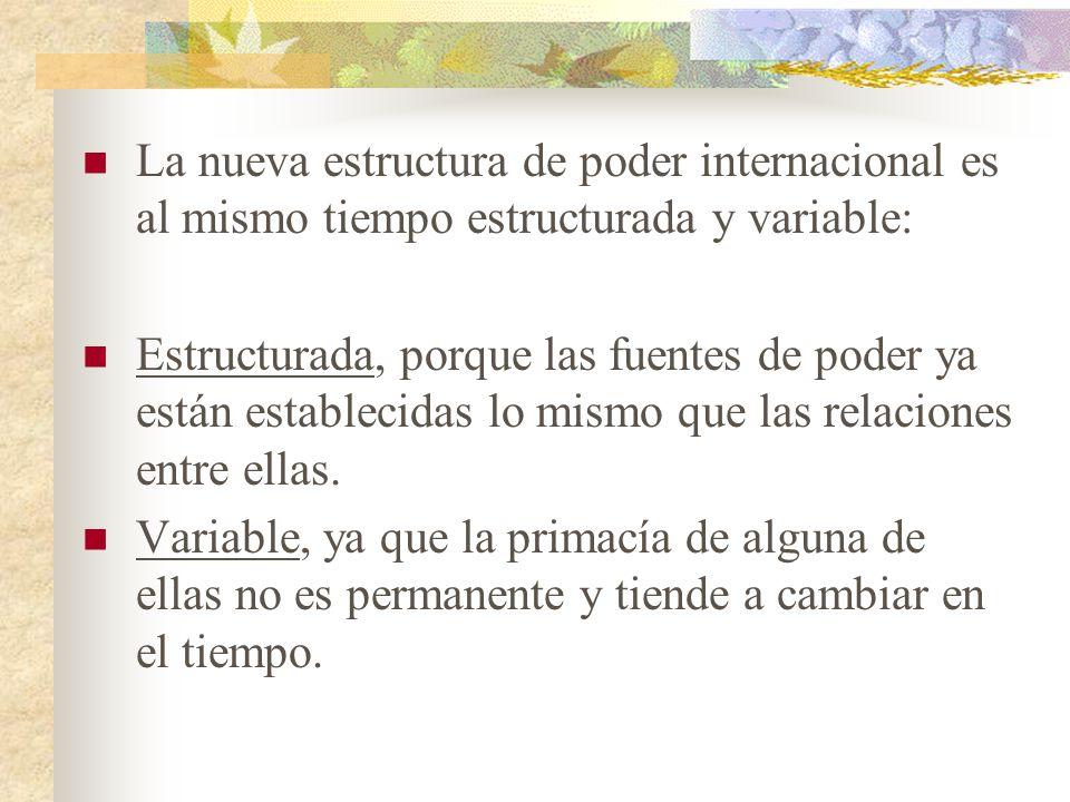 La nueva estructura de poder internacional es al mismo tiempo estructurada y variable:
