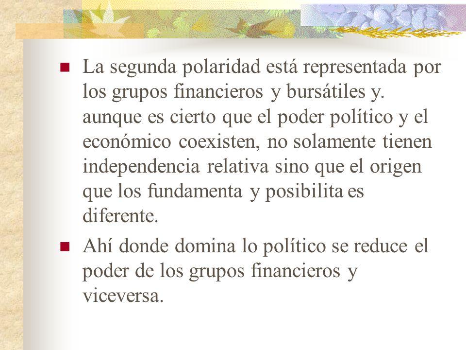 La segunda polaridad está representada por los grupos financieros y bursátiles y. aunque es cierto que el poder político y el económico coexisten, no solamente tienen independencia relativa sino que el origen que los fundamenta y posibilita es diferente.