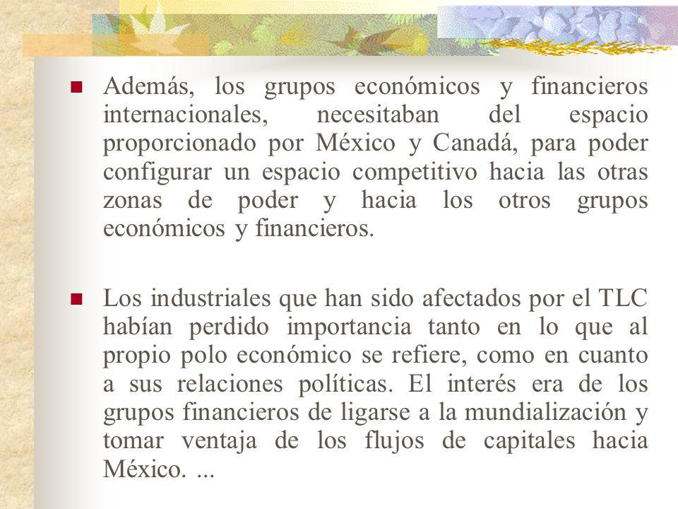 Además, los grupos económicos y financieros internacionales, necesitaban del espacio proporcionado por México y Canadá, para poder configurar un espacio competitivo hacia las otras zonas de poder y hacia los otros grupos económicos y financieros.