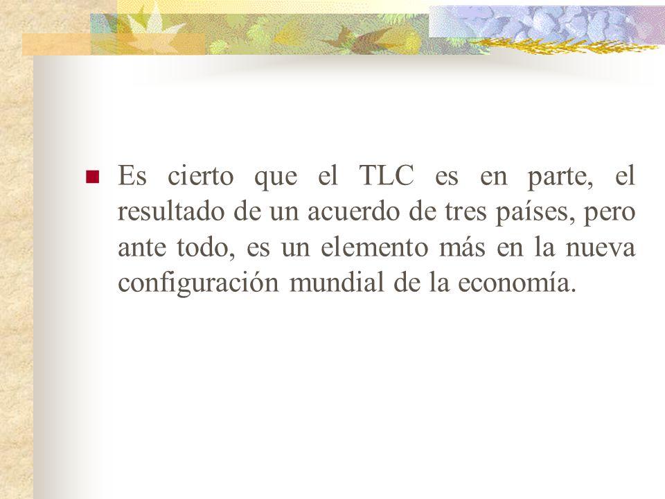 Es cierto que el TLC es en parte, el resultado de un acuerdo de tres países, pero ante todo, es un elemento más en la nueva configuración mundial de la economía.