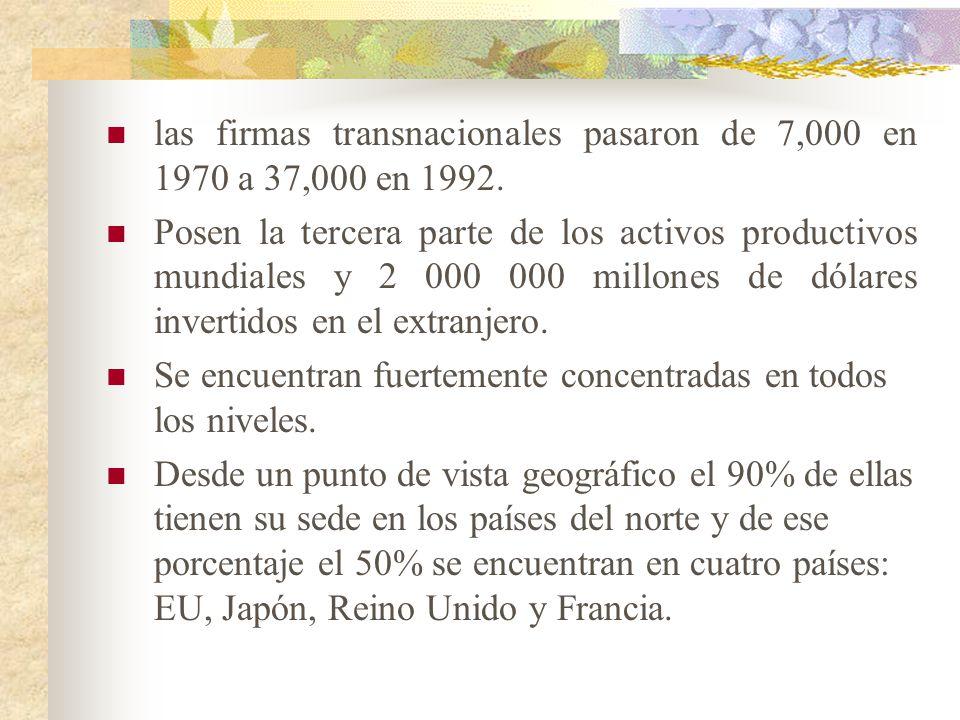 las firmas transnacionales pasaron de 7,000 en 1970 a 37,000 en 1992.