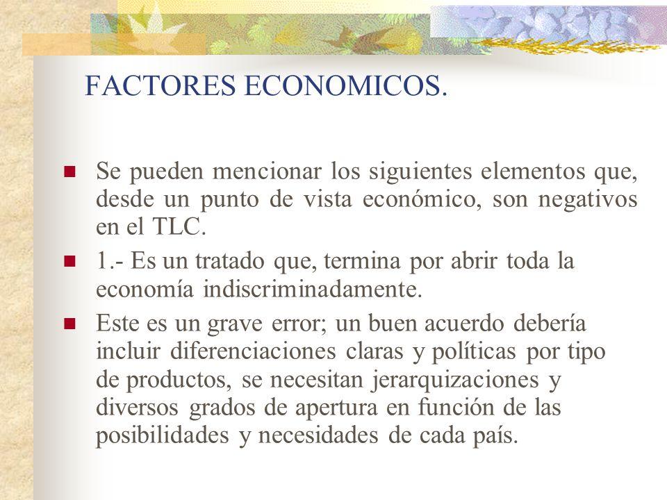 FACTORES ECONOMICOS. Se pueden mencionar los siguientes elementos que, desde un punto de vista económico, son negativos en el TLC.