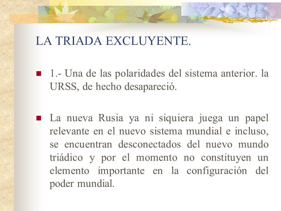 LA TRIADA EXCLUYENTE. 1.- Una de las polaridades del sistema anterior. la URSS, de hecho desapareció.