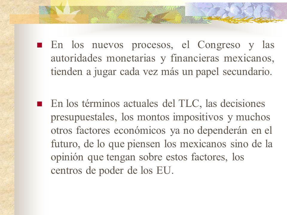 En los nuevos procesos, el Congreso y las autoridades monetarias y financieras mexicanos, tienden a jugar cada vez más un papel secundario.