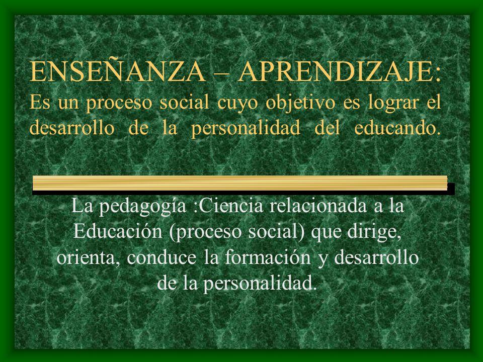 ENSEÑANZA – APRENDIZAJE: Es un proceso social cuyo objetivo es lograr el desarrollo de la personalidad del educando.