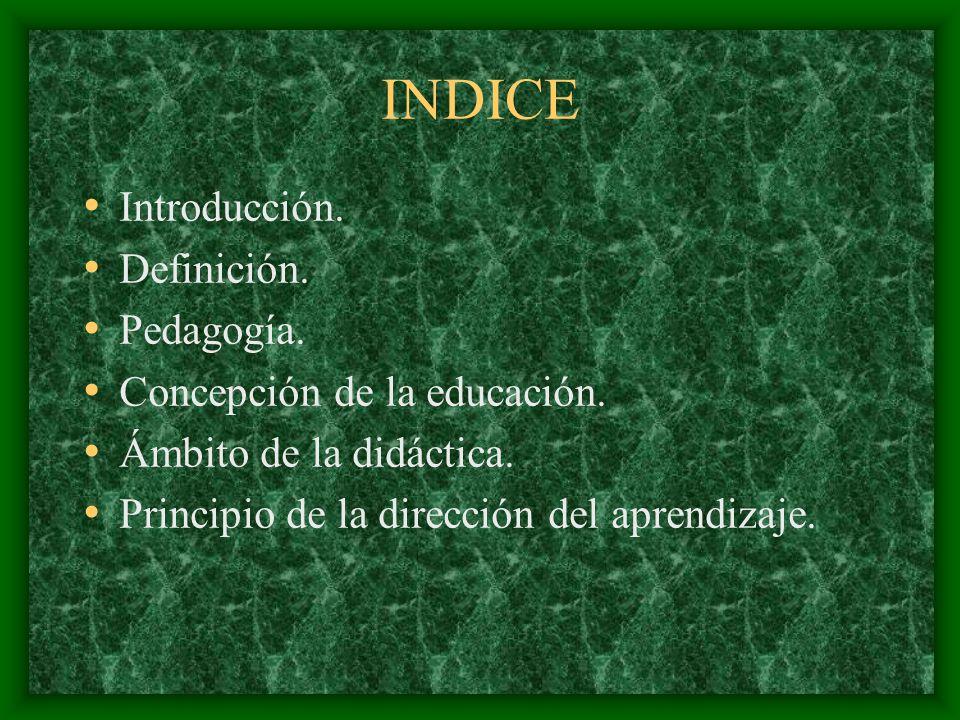 INDICE Introducción. Definición. Pedagogía.