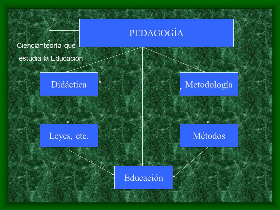 PEDAGOGÍA Didáctica Metodología Leyes, etc. Métodos Educación