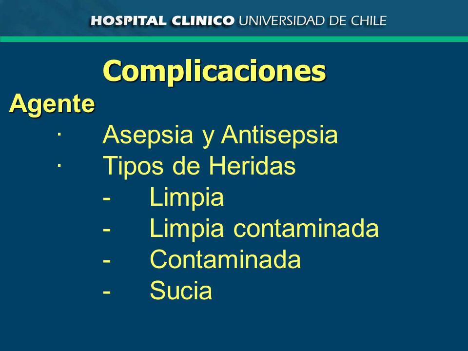 Complicaciones Agente · Asepsia y Antisepsia · Tipos de Heridas