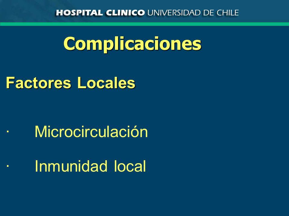 Complicaciones Factores Locales · Microcirculación · Inmunidad local
