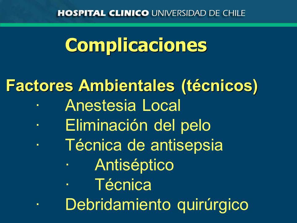 Complicaciones Factores Ambientales (técnicos) · Anestesia Local