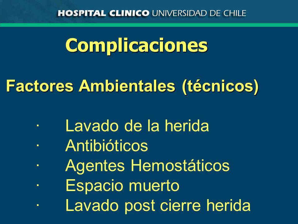 Complicaciones Factores Ambientales (técnicos) · Lavado de la herida