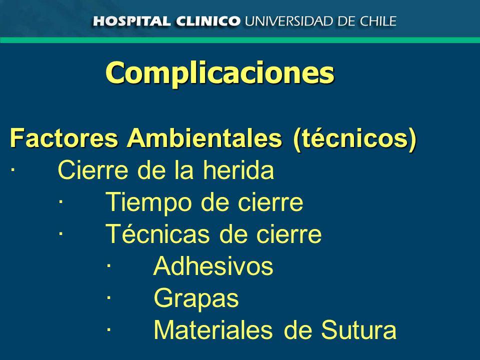 Complicaciones Factores Ambientales (técnicos) · Cierre de la herida