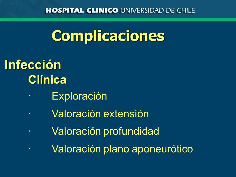 Complicaciones Infección Clínica · Exploración · Valoración extensión