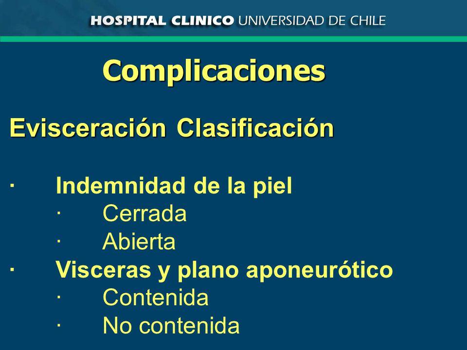 Complicaciones Evisceración Clasificación · Indemnidad de la piel