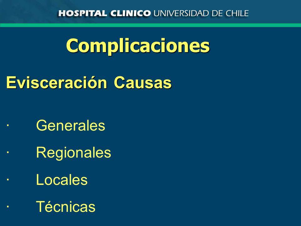 Complicaciones Evisceración Causas · Generales · Regionales · Locales