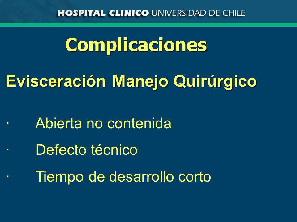 Complicaciones Evisceración Manejo Quirúrgico · Abierta no contenida