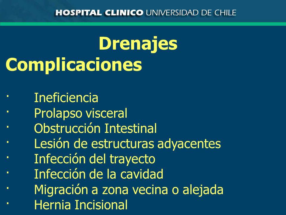 Drenajes Complicaciones · Ineficiencia · Prolapso visceral