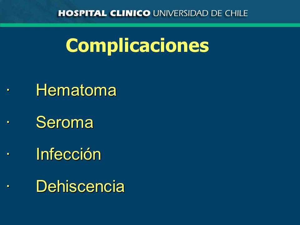 Complicaciones · Hematoma · Seroma · Infección · Dehiscencia