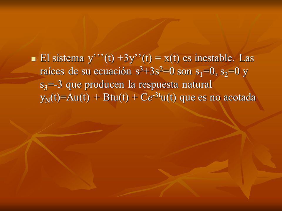 El sistema y'''(t) +3y''(t) = x(t) es inestable