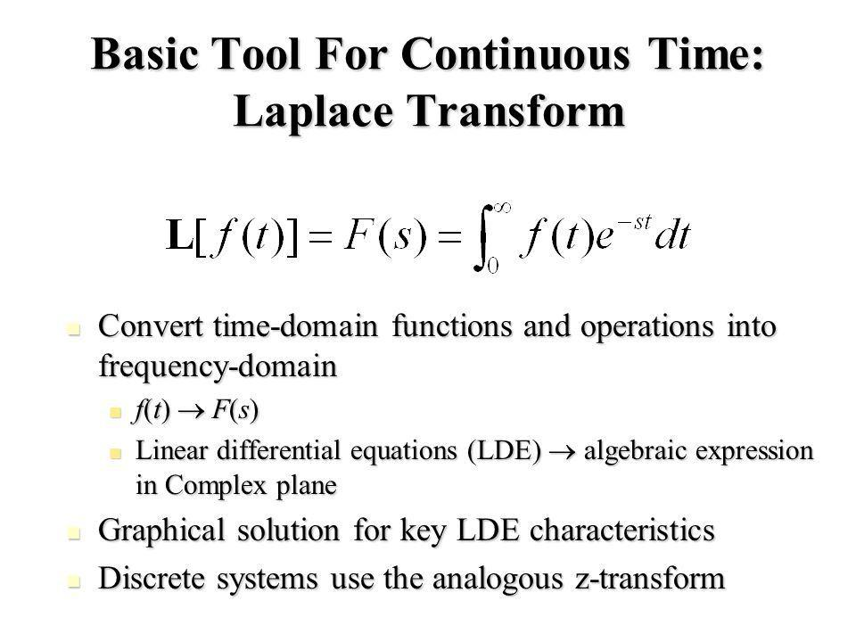 Basic Tool For Continuous Time: Laplace Transform