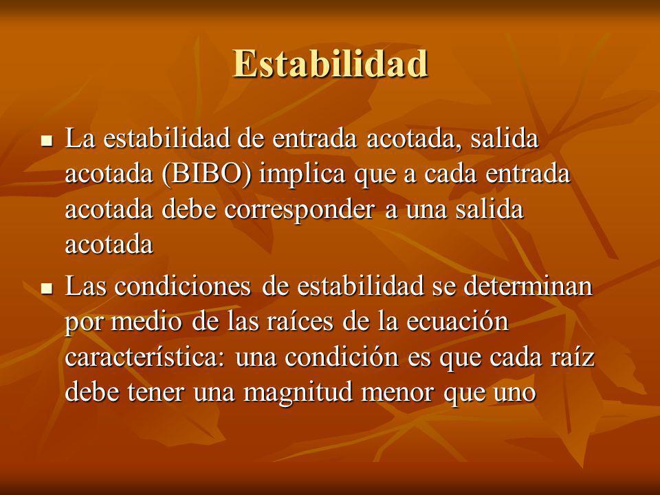 Estabilidad La estabilidad de entrada acotada, salida acotada (BIBO) implica que a cada entrada acotada debe corresponder a una salida acotada.