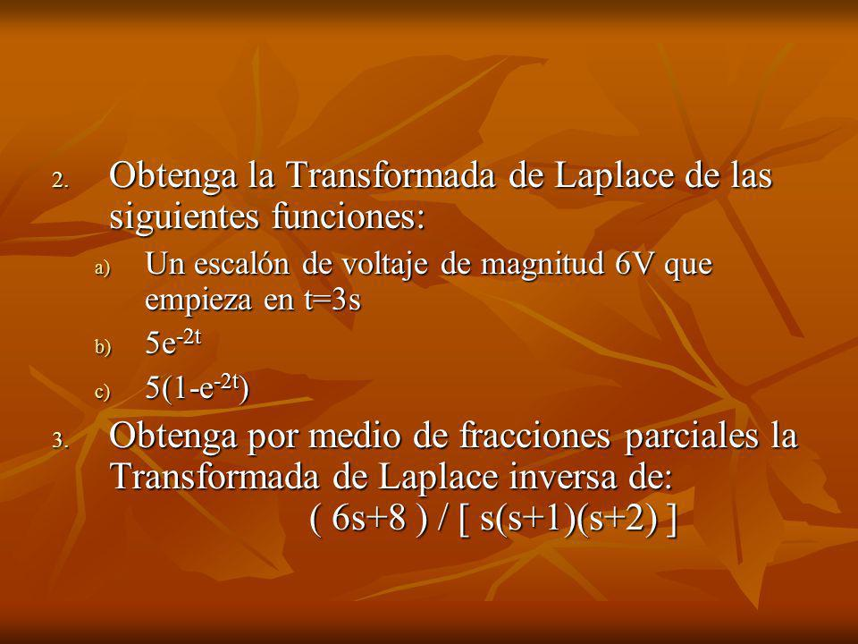 Obtenga la Transformada de Laplace de las siguientes funciones: