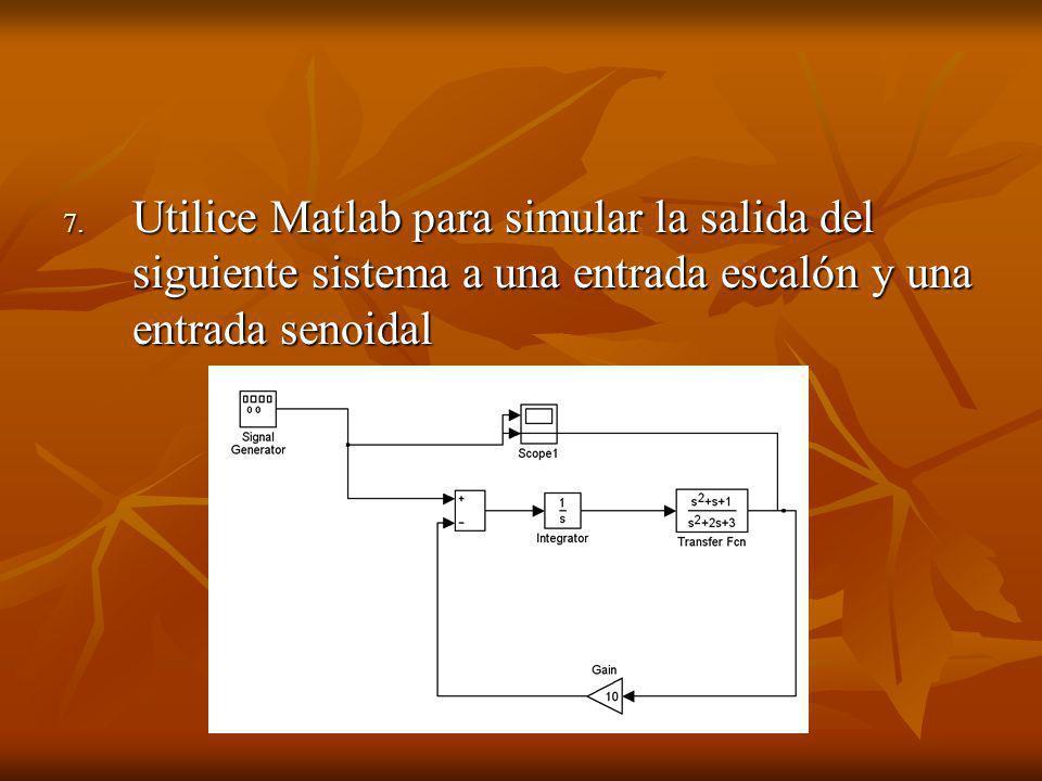 Utilice Matlab para simular la salida del siguiente sistema a una entrada escalón y una entrada senoidal