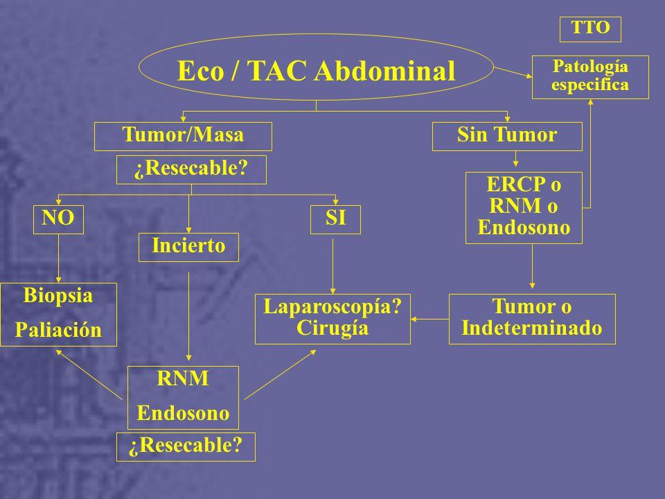 Eco / TAC Abdominal Tumor/Masa Sin Tumor ¿Resecable