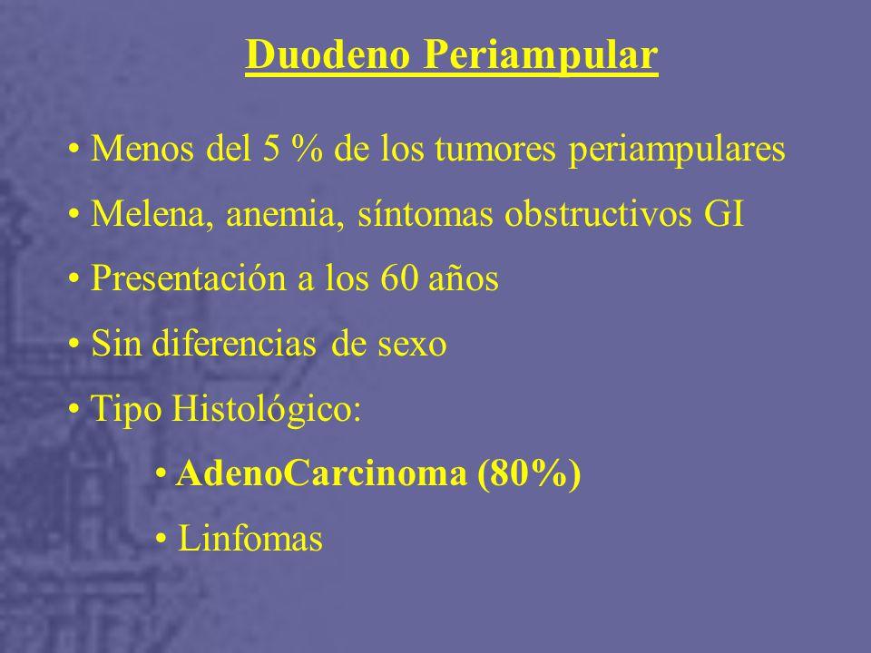 Duodeno Periampular Menos del 5 % de los tumores periampulares
