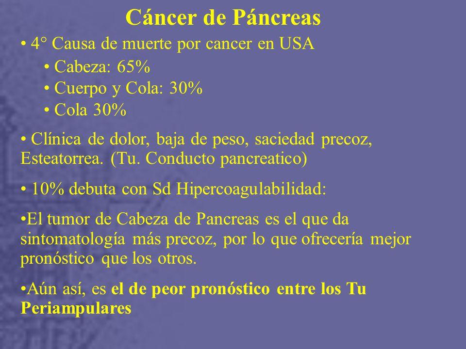 Cáncer de Páncreas 4° Causa de muerte por cancer en USA Cabeza: 65%