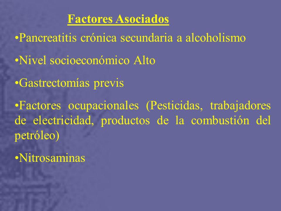 Factores Asociados Pancreatitis crónica secundaria a alcoholismo. Nivel socioeconómico Alto. Gastrectomías previs.