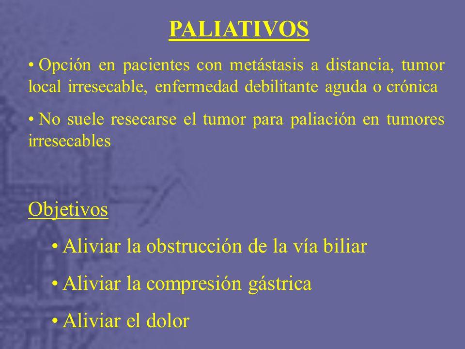 Aliviar la obstrucción de la vía biliar Aliviar la compresión gástrica