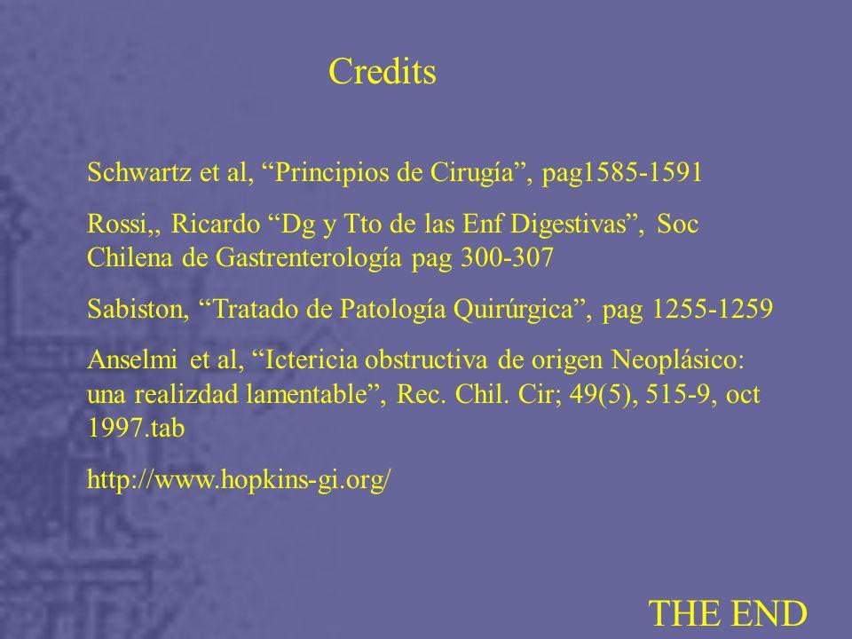 Credits THE END Schwartz et al, Principios de Cirugía , pag1585-1591