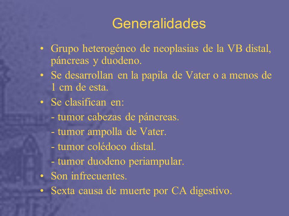 Generalidades Grupo heterogéneo de neoplasias de la VB distal, páncreas y duodeno. Se desarrollan en la papila de Vater o a menos de 1 cm de esta.