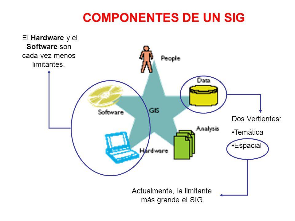 COMPONENTES DE UN SIG El Hardware y el Software son cada vez menos limitantes. Dos Vertientes: Temática.