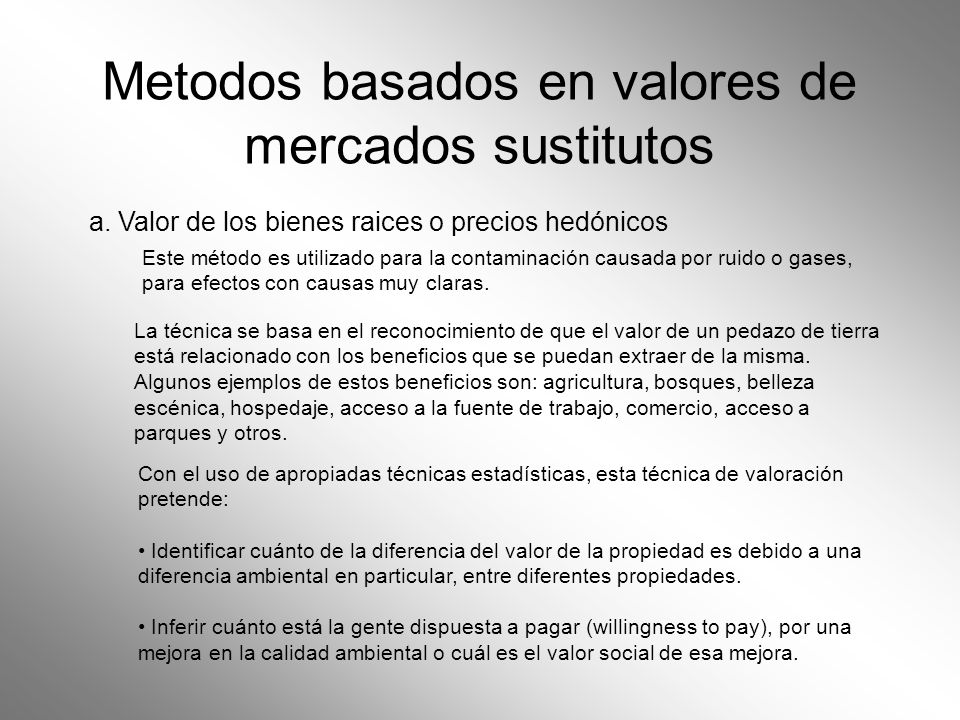 Metodos basados en valores de mercados sustitutos